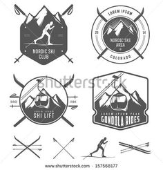Set of nordic skiing design elements - stock vector