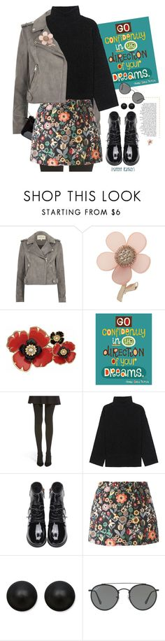 """Leather Biker Jacket."" by s-elle ❤ liked on Polyvore featuring River Island, Miss Selfridge, Dana Buchman, Hue, Steffen Schraut, RED Valentino, Pori, Ray-Ban, N'Damus and patentleather"