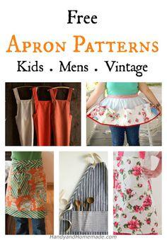 7 Free DIY Apron Sewing Patterns      7 Free DIY Apron Sewing Patterns - Kids, Men, Vintage How to Make Aprons From Shirts Via eHow Adjustable Kitchen Apron Via PurlSoho Kids No�...  #HowTo #make