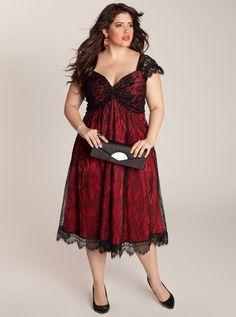 Rachelle Plus Size Lace Dress in Black/Rouge