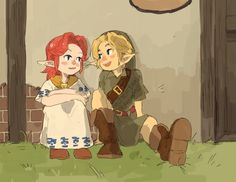 Legend of Zelda Ocarina of Time art > Link and Malon The Legend Of Zelda, Malon Zelda, Oot Link, Princess Toadstool, Ocarina Of Times, Zelda Breath, Twilight Princess, Princess Zelda, Breath Of The Wild