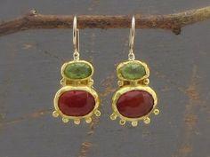 Carnelian and Peridot Earrings 24 Karat Solid Gold by Omiya