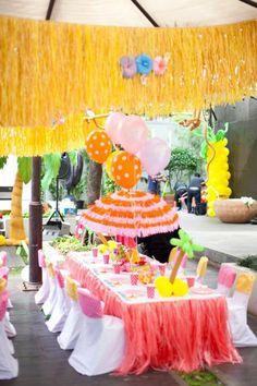 Aloha Luau Surf Colorful Hawaiian Beach Girl 1st Birthday Party Planning Ideas