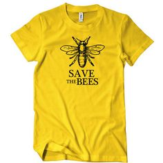 Save The Bees T-Shirt ($5.99) ❤ liked on Polyvore featuring tops, t-shirts, bee t shirt, yellow tee, bumblebee t shirt, honey bee tees and honey bee t shirts