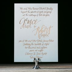 Copper foil calligraphy wedding invitations we offer at Coqui!