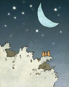 Stars and Moon Art Print - Forest Nursery Decor, Night Sky Wall Decor, Orange Birds, Woodland Nursery, Childrens Room Art, Blue Moon