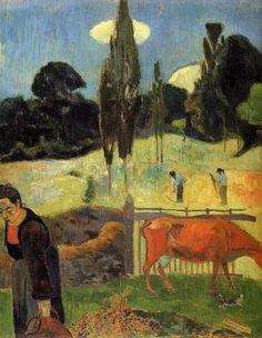 "post-impress-art: "" The red cow, 1889, Paul Gauguin Medium: oil on canvas"""
