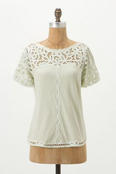 anthropologie lace topped tee