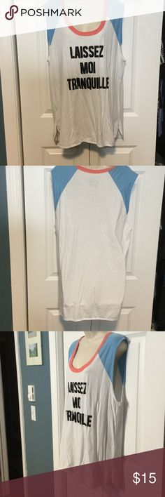 "Chaser tank ""Leave me alone ""chaser tank. White with blue partial sleeves and salmon colored neckline. Tunic length. Used condition. Chaser Tops Muscle Tees"
