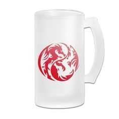 Yin Yang Dragon Frosted Glass Pub Big Beer Cup - => You can find more details here : Cat mug