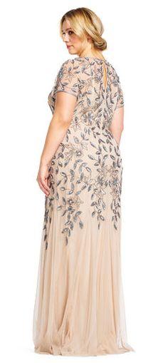 90399b50af420 Floral Beaded Godet Gown with Sheer Short Sleeves