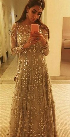Love the mirror stones alone design Indian Wedding Outfits, Pakistani Outfits, Indian Outfits, Wedding Attire, Indian Fashion Trends, Ethnic Fashion, Asian Fashion, Indian Attire, Indian Ethnic Wear