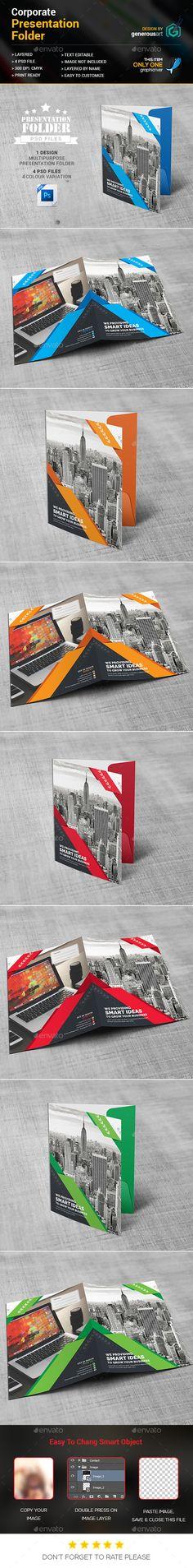 Corporate Presentation Folder Design Template - Stationery Print Template PSD. Download here: https://graphicriver.net/item/presentation-folder/17429340?ref=yinkira