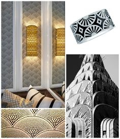 Patterns and Prints. Art Deco feather fan motifs. Interior Designer: Franklin Eighth.
