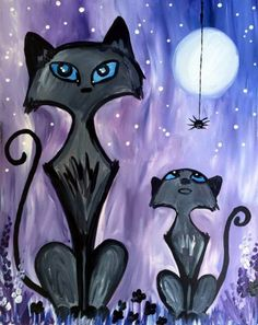 Learn to Paint Curious Halloween tonight at Paint Nite! Our artists know exactly how to teach painters of all levels - give it a try! Autumn Painting, Autumn Art, Diy Painting, Painting & Drawing, Painting Lessons, Halloween Canvas, Halloween Painting, Halloween Art, Halloween Rocks