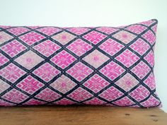 """11"""" x 24"""" Vintage Chinese Wedding Blanket Lumbar Pillow Cover/Boho Pink and Indigo Ethnic Embroidered Dowry Textile/Handwoven Silk Cushion by HillTribesTreasures on Etsy"""