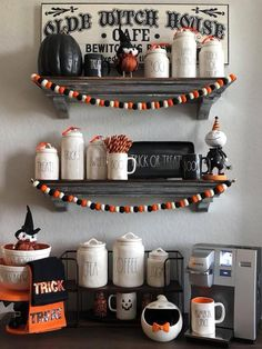 Wonderful Halloween Decoration Ideas For Your Kitchen. If you are looking for Halloween Decoration Ideas For Your Kitchen, You come to the right place. Retro Halloween, Spooky Halloween, Halloween Kitchen Decor, Halloween Living Room, Vintage Halloween Decorations, Dollar Store Halloween, Holidays Halloween, Halloween Crafts, Halloween Party
