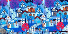 Half Yard Japanese Cotton Fabric Town Houses Row Colorful Blue or Purple