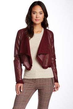 Faux Leather Draped Crop Jacket by Willow & Clay