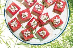 Feta-Stuffed Watermelon Blocks. Just watermelon, feta cheese and basil. ♥ Epicurious (Self)