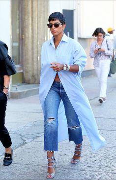 La princesse deena aljuhani abdulaziz 'sjeans 's. Passion For Fashion, Love Fashion, Fashion Looks, Womens Fashion, Mode Outfits, Casual Outfits, Fashion Outfits, Fashion Trends, White Shirt Outfits