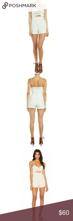 """Pinup Girl Playsuit Retro Bardot style! Tie up bodice playsuit with front cutout detail in nougat beige. Adjustable spaghetti straps, slash pockets, folded cuffs. Concealed back zipper, mock back pockets. Fully lined, linen/viscose blend.   Size: 6 Measurements: Bust: 16""""   Waist: 15""""   Hip: 18""""    Length: 27"""" Size: 8 Measurements: Bust: 18""""   Waist: 16""""   Hip: 20""""    Length: 27""""  NO Trade / NO Paypal Pants Jumpsuits & Rompers"""