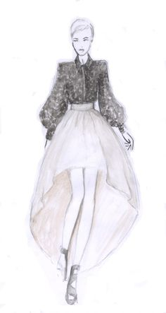 Watercolour fashion illustration - fashion design sketch // Maria Grachvogel