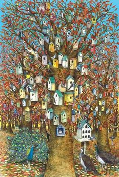 Bird House City by Allen Fletcher ~ beautiful painting would be awesome to do
