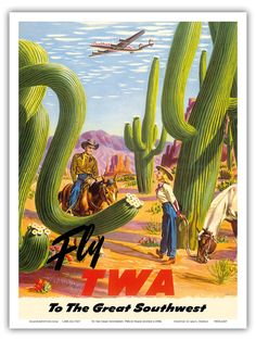 Fly TWA Trans World Airlines  by Frank Soltesz c.1950s