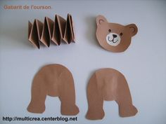 fabriquez des animaux (pliage accordéon) Template of the bear. (the bear& body is made of 2 strips of paper folded one on top of the other to make an accordion) The post make animals (accordion folding) appeared first on Best Pins. Animal Crafts For Kids, Toddler Crafts, Preschool Crafts, Diy Crafts For Kids, Projects For Kids, Paper Toys, Paper Crafts, Hobbies And Crafts, Arts And Crafts
