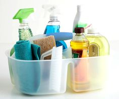 Clutter-Busting Habits - Efficient Cleaning - Streamline your cleaning products into five basics: all-purpose cleaner, glass cleaner, wood polish, abrasive cleaner for bathroom and kitchen, and floor cleaner