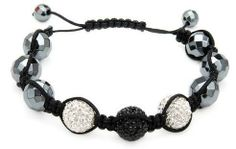 White Shamballa Style Macrame Bracelet with 2 Large Crystal Beads Made in Colored Enamel and Expertly Woven with Black Silk The Gem Zone Beads & Gifts. $10.99. White Shamballa Style Macrame Bracelet Expertly Woven with Black Silk. 2 Large Crystal Beads Comprised of Numerous Crystals Embedded in Colored Enamel. Simulated Gem Beads; Attractive and Well Made. Adjustable Length; Comes in a Jewelry Box