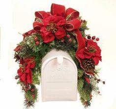 Christmas+Mailbox+Decorations | Amazon.com - Poinsettia Holiday Mailbox Swag - Christmas Swag WR4565S