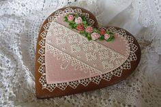 More Love in a needlepoint lace heart by Teri Pringle Wood, posted on Cookie Connection