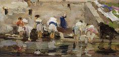 Francisco Pradilla y Ortiz - Las lavanderas - óleo sobre tabla - 9 x 18 cm