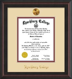 Lynchburg College Diploma Frame with premium hardwood moulding and 24k gold-plated Lynchburg medallion - school name embossing and superior UV glass - Cream on Crimson mat. A great graduation gift!
