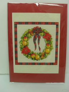 Red Tartan Christmas Wreath 3D Decoupage Christmas Card £1.00