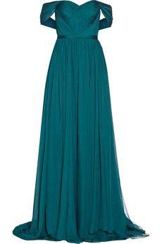 Marchesa Robe longue du soir en mousseline de soie épaules nues | NET-A-PORTER