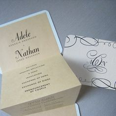 A unique a little way to share the details of your ceremony with your guests, in a clever pocket program. Each pocket program is faced with decorative embellishments along with your custom monogram displayed in the center. All of your wedding details and wedding party information is revealed through accordion style expanding pages.