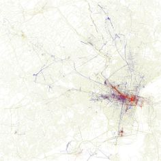 Philadelphia, Pennsylvania | 15 Maps Showing Where Tourists Take Photos Vs. Where Locals Take Photos  Red = Tourists Blue = Locals Yellow = May be either tourists or locals
