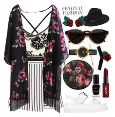"""""""Festival fashion ;)"""" by asnaate ❤ liked on Polyvore featuring STELLA McCARTNEY, Lack of Color, RetroSuperFuture, Versace, Atelier Swarovski, Barry M and NYX"""