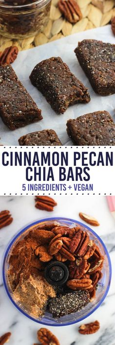 Five-ingredient cinnamon pecan chia bars are naturally-sweetened and easy to make in the food processor. They're date-based and make a healthy, vegan snack.