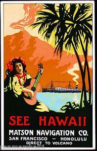 1920s Hawaii from San Francisco Ocean Liner Travel Advertisement Poster Print
