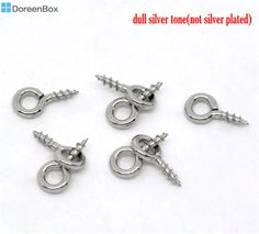 Doreen Box Lovely 1000 Silver Tone Screw Eye Bail Top Drilled Finding 8mm (B08422) #Affiliate
