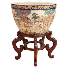 Large Chinese Fishbowl on Wall Carved Stand