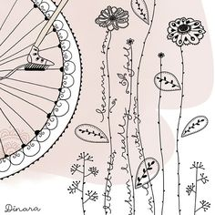 bicycle and flowers by Dinara Mirtalipova  - I like this, its simple and fun, however based on the position of the foot on pedal, I suspect this is a unicycle and not a bicycle.