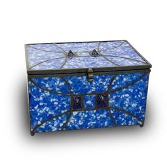 Sapphire Memory Chest Glass Keepsake Box - Large - Holds Up To 200 Cubic Inches of Ashes - Sapphire Blue Memorial Gifts - Engraving Sold Separately Memorial Urns, Memorial Gifts, Keepsake Urns, Cremation Urns, Sympathy Gifts, Glass Boxes, Colored Glass, Shades Of Blue, Blue Sapphire