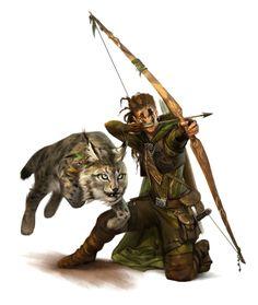 Female Half-Elf Ranger or Hunter - Pathfinder PFRPG DND D&D 3.5 5th ed d20 fantasy