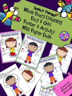 Speech Therapy. Whole Body Listening small boy/girl posters & activity w/ bonus paper dolls. Behavior, listening practice. #speechtherapy #autism