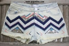 A Little Bit Gypsy Chevron Embellished Denim Shorts $39.95 www.gugonline.com